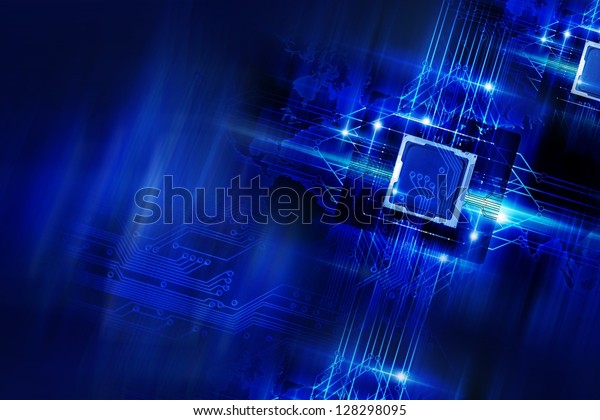 Nano Technology - Processors and Circuit Board. Cool Blue Glowing Laser Blue Elements Technology Background. Quantum Technology. Technology Imagery.