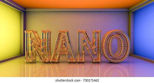Nano word built from crystalline network, nanotechnology concept, 3D illustration