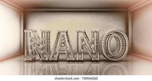 Nano word built from crystalline network, nanotechnology concept, 3D illustration. Retro style toning
