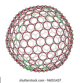 Nanocluster fullerene C540 molecular structure on a white background