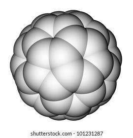 Nanoparticle fullerene C60 space-filling model.