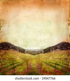 Napa Valley vineyard sunset on a grunge background.
