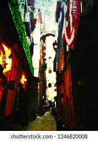 Naples Alley Watercolor