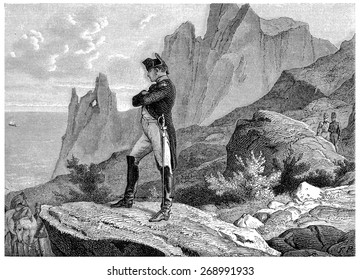Napoleon at St. Helena, vintage engraved illustration. History of France 1885.