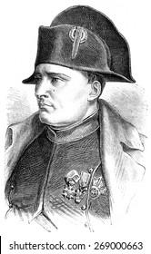 Napoleon, vintage engraved illustration. History of France 1885.