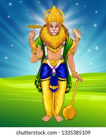 Narasimha, the 4th avatar of Lord Vishnu, incarnated to kill the demon Hiranyakashipu. Also known as Lion-Man avatar. His face is lion and body as human. He has 4 hands