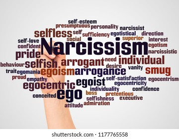 Narcissism word cloud and hand with marker concept on gradient background.