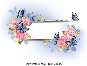 Narrow banner with pink roses, blue and gold leaves with blue butterflies on white background.