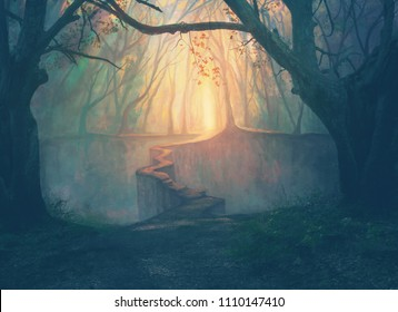 A narrow path leading to a beautiful opening in the forest. Digital illustration