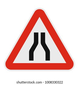 Narrowing of the road icon. Flat illustration of narrowing of the road  icon for web.