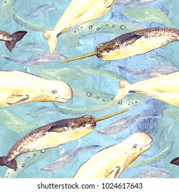 Narwhal and beluga, hand painted watercolor illustration, seamless pattern on blue, green ocean surface with waves background
