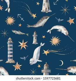Narwhal and lighthouse seamless pattern. Watercolor nautical repeating texture with whales, stars, moon on navi blue background.