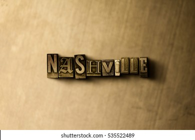 NASHVILLE - close-up of grungy vintage typeset word on metal backdrop. Royalty free stock illustration.  Can be used for online banner ads and direct mail.
