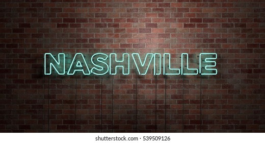 NASHVILLE - fluorescent Neon tube Sign on brickwork - Front view - 3D rendered royalty free stock picture. Can be used for online banner ads and direct mailers.