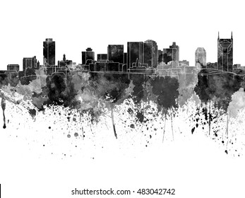 Nashville skyline in black watercolor on white background