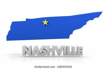 Nashville TN Tennessee City State Map 3d Illustration