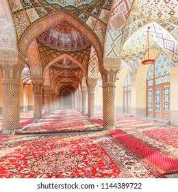 The Nasir ol Molk Mosque. Arabic arches and ornaments in the interior. Moroccan interior. 3d illustration