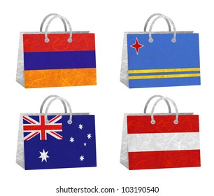 Nation Flag. Bag recycled paper on white background. ( Armenia , Aruba , Australia , Austria )
