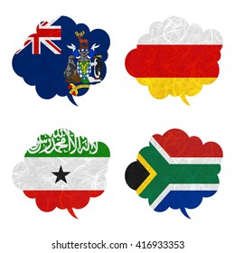 Nation Flag. Speech-balloons recycled paper on white background. ( Somaliland , South Africa , South Georgia and the South Sandwich Islands , South Ossetia )