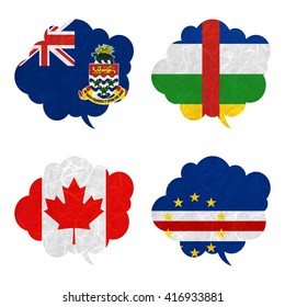 Nation Flag. Speech-balloons recycled paper on white background. ( Canada , Cape Verde , Cayman Islands , Central African Republic )