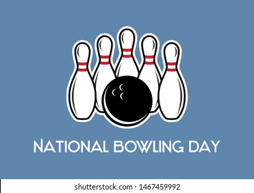 National Bowling Day illustration. Bowling and bowling pins. Five white pins illustration. National Bowling Day Poster, August 8. Important day
