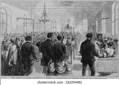 National Convention of the Colored Men of America in session at Washington, D.C. in January 1869. Among the speakers was Frederick Douglass.