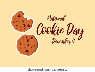 National Cookie Day illustration. Chocolate Cookies illustration. Biscuit illustration. Cookie Day Poster, December 4. American food holiday