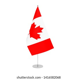National fabric flag of Canada isolated on white background. 3d rendering illustration.