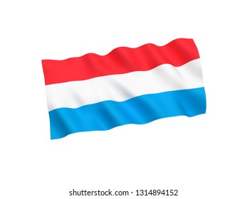 National fabric flag of Luxembourg isolated on white background. 3d rendering illustration. 1 to 2 proportion