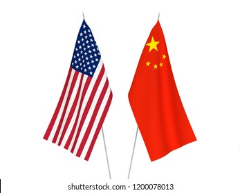 National fabric flags of America and China isolated on white background. 3d rendering illustration.
