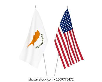 National fabric flags of America and Cyprus isolated on white background. 3d rendering illustration.