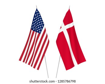 National fabric flags of America and Denmark isolated on white background. 3d rendering illustration.