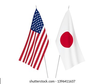 National fabric flags of America and Japan isolated on white background. 3d rendering illustration.