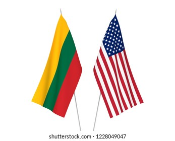 National fabric flags of America and Lithuania isolated on white background. 3d rendering illustration.