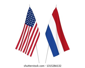 National fabric flags of America and Netherlands isolated on white background. 3d rendering illustration.