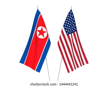 National fabric flags of America and North Korea isolated on white background. 3d rendering illustration.