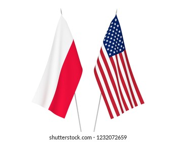 National fabric flags of America and Poland isolated on white background. 3d rendering illustration.