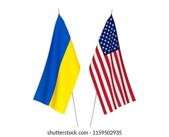 National fabric flags of America and Ukraine isolated on white background. 3d rendering illustration.