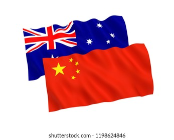 National fabric flags of Australia and China isolated on white background. 3d rendering illustration.