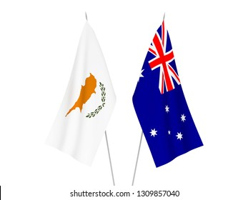 National fabric flags of Australia and Cyprus isolated on white background. 3d rendering illustration.