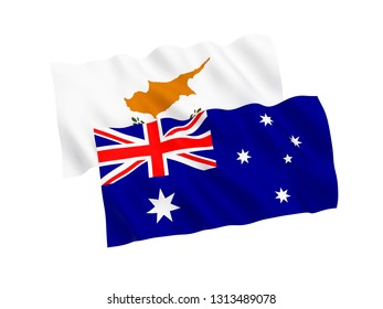 National fabric flags of Australia and Cyprus isolated on white background. 3d rendering illustration. 1 to 2 proportion.