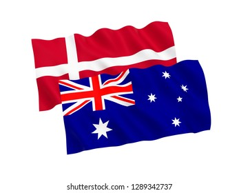 National fabric flags of Australia and Denmark isolated on white background. 3d rendering illustration.