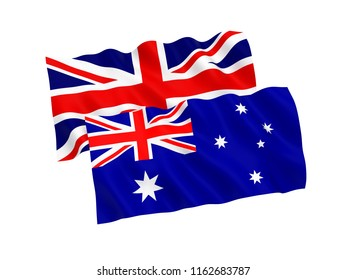 National fabric flags of Australia and Great Britain isolated on white background. 3d rendering illustration.