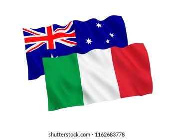 National fabric flags of Australia and Italy isolated on white background. 3d rendering illustration.