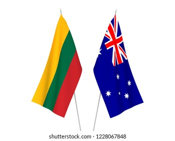 National fabric flags of Australia and Lithuania isolated on white background. 3d rendering illustration.