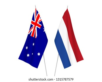 National fabric flags of Australia and Netherlands isolated on white background. 3d rendering illustration.