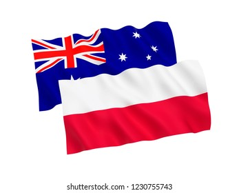 National fabric flags of Australia and Poland isolated on white background. 3d rendering illustration.