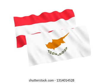 National fabric flags of Austria and Cyprus isolated on white background. 3d rendering illustration. 1 to 2 proportion.