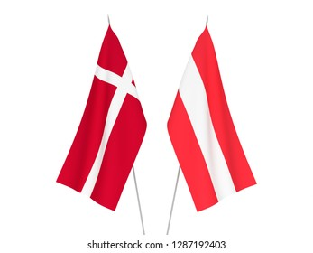 National fabric flags of Austria and Denmark isolated on white background. 3d rendering illustration.