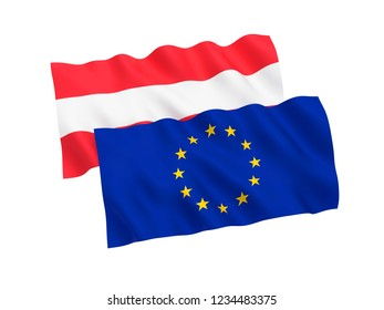 National fabric flags of Austria and European Union isolated on white background. 3d rendering illustration.